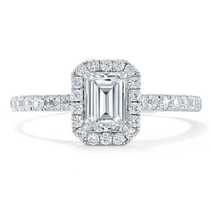 1.45ct  Emerald Cut Moissanite Engagement Ring, Classic Halo,  Available in White Gold, Platinum, Rose Gold or Yellow Gold