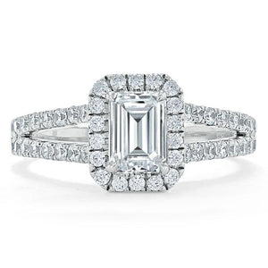 Lab Diamond Emerald Cut Engagement Ring, Classic Halo with Split Shank, Choose Your Stone Size and Metal