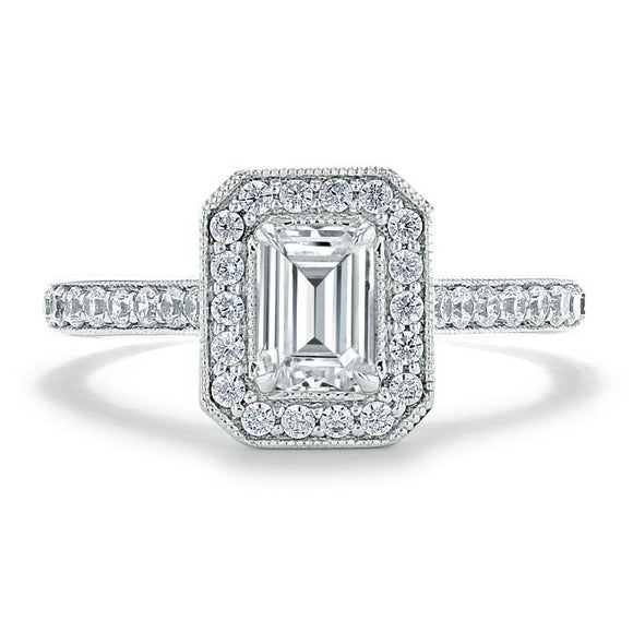 1.40ct  Emerald Cut Moissanite Engagement Ring, Classic Halo,  Available in White Gold, Platinum, Rose Gold or Yellow Gold