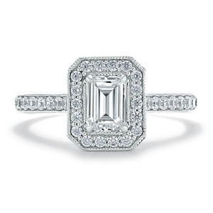 Lab-Diamond Emerald Cut Engagement Ring, Classic Halo, Choose Your Stone Size and Metal