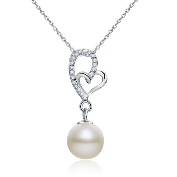 Pearl & Diamond Pendant, Simulated Diamond Heart Necklace, 925 Sterling Silver