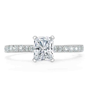 1.20ct Radiant Cut Moissanite Engagement Ring, Classic Style,  Available in White Gold, Platinum, Rose Gold or Yellow Gold