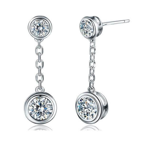 Rub-Over Round Diamond Drop Earrings, 925 Sterling Silver