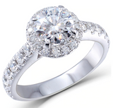 1.00ct Round Cut Moissanite, Classic Halo Engagement Ring, 14Kt 585 White Gold