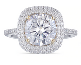 3.00ct Cushion Cut Moissanite, Classic Halo Engagement Ring, 14Kt 585 White Gold