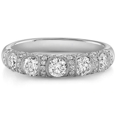 1.28ct Moissanite Wedding Band, Half Eternity Ring, Available in White Gold or Rose Gold