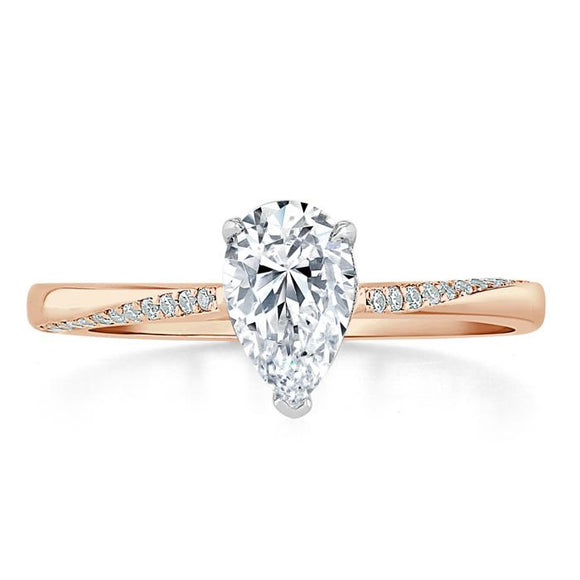 1.00ct Pear Cut Moissanite Engagement Ring, Classic Style, Available in White Gold, Platinum, Rose Gold or Yellow Gold