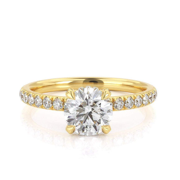 1.25ct  Round Cut Moissanite Engagement Ring, Classic Style,  Available in Yellow Gold, Rose Gold, White Gold or Platinum