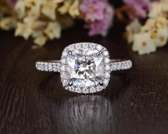 Cushion Cut Moissanite Engagement Ring, Classic Halo Design, Choose Your Stone Size & Metal