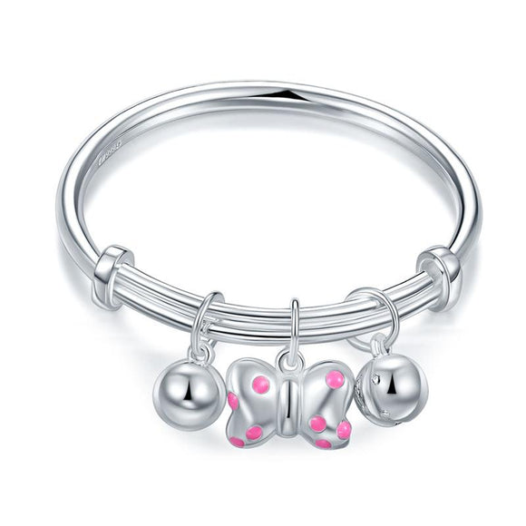 Copy of Solid Pure Sterling Silver Baby Bangle, Knot & Bells Design