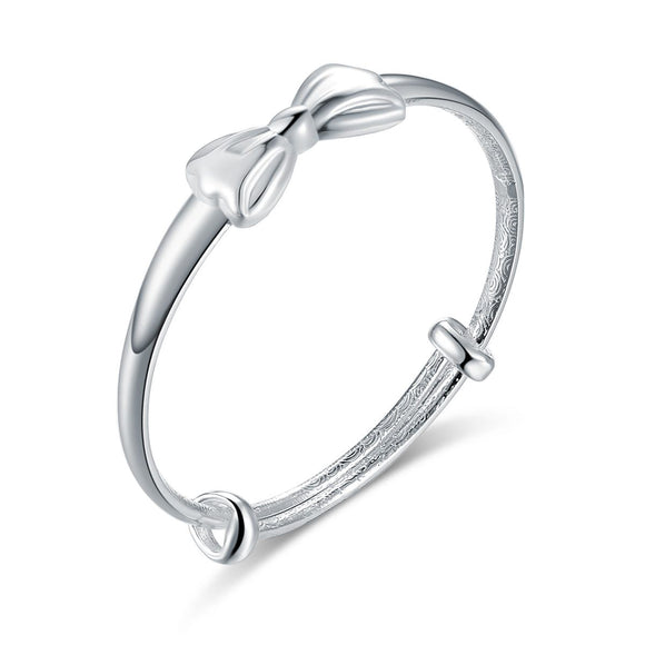 Solid Pure Sterling Silver Baby Bangle, Ribbon Design