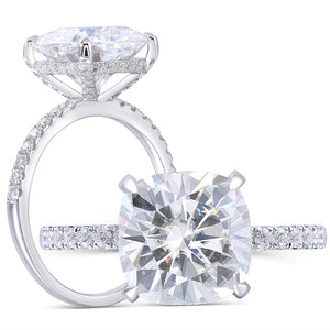 4.50ct Cushion Cut Moissanite Engagement Ring, 14Kt 585 White Gold