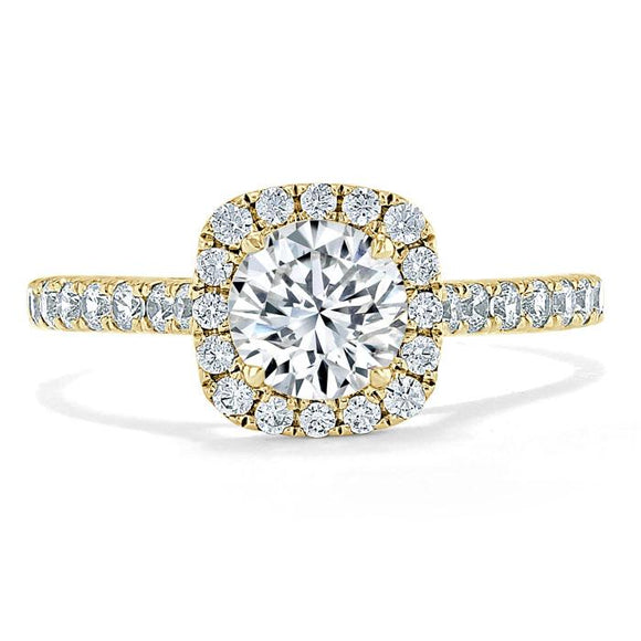 Lab-Diamond, Round Cut Halo Engagement Ring, Tiffany Style, Choose Your Stone Size and Metal