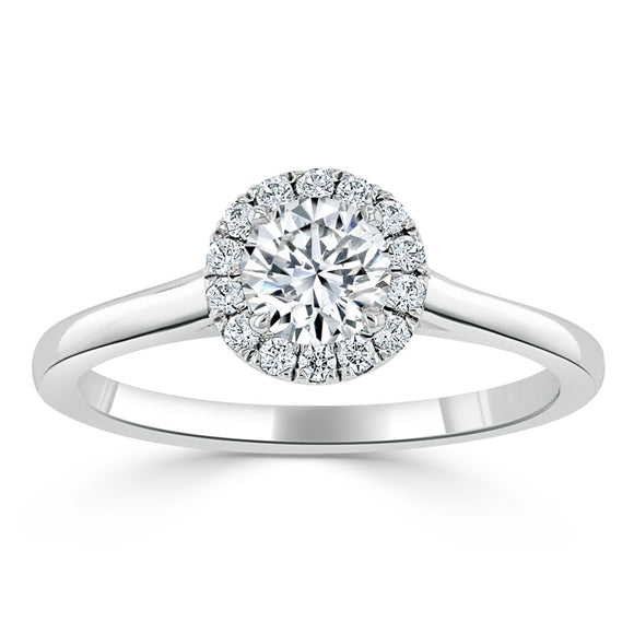 0.50ct Round Cut Moissanite Halo Engagement Ring, Available in White Gold or Platinum