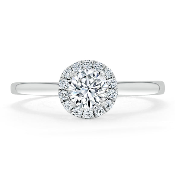 Lab-Diamond, Round Cut Halo Engagement Ring, Choose Your Stone Size and Metal