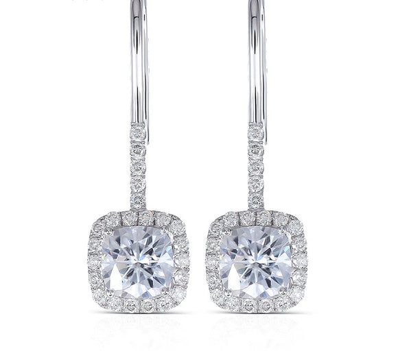 1.00ct each, Cushion Cut Moissanite Halo Earrings, Shepards Hook, 14Kt 585 White Gold