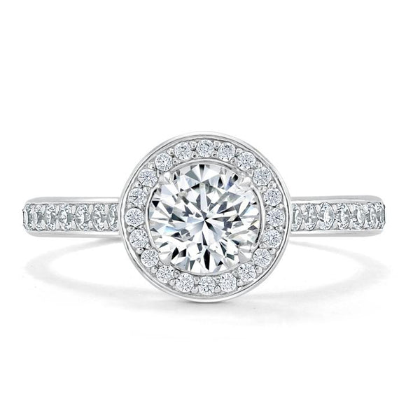 1.35ct  Round Cut Moissanite Halo Engagement Ring, Tiffany Style,  Available in White Gold, Platinum, Rose Gold or Yellow Gold