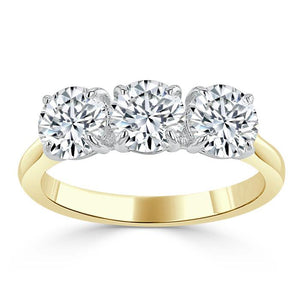 1.00ct  Round Cut Moissanite 3 stone Engagement Ring,  Available in White Gold, Platinum, Rose Gold or Yellow Gold