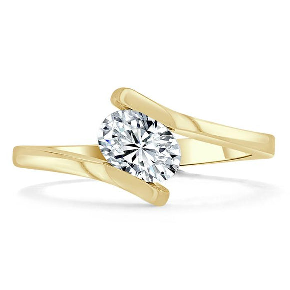 Lab-Diamond Oval Cut Engagement Ring, Twist Design, Choose Your Stone Size and Metal