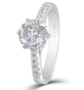 1.50ct Round Cut Moissanite, Classic Engagement Ring, 10Kt White Gold