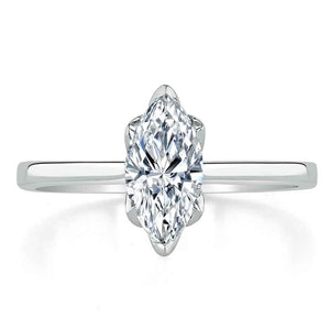 Lab-Diamond Marquise Cut Engagement Ring, Classic Design, Choose Your Stone Size and Metal