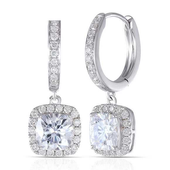 1.00ct each, Cushion Cut Moissanite Halo Drop Earrings, Art Deco Design, 14Kt 585 White Gold