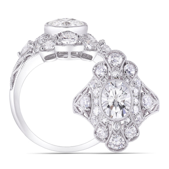 2.00ct Oval Cut Moissanite Centre, Art Deco Inspired Ring, Available in White Gold or Platinum