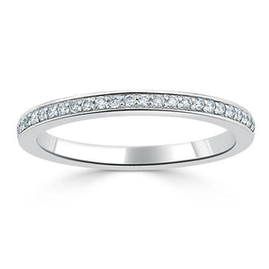 0.40ct Moissanite Wedding Band, Delicate Half Eternity Ring, 2.00mm Wide Pave Set,  Available in White Gold or Platinum