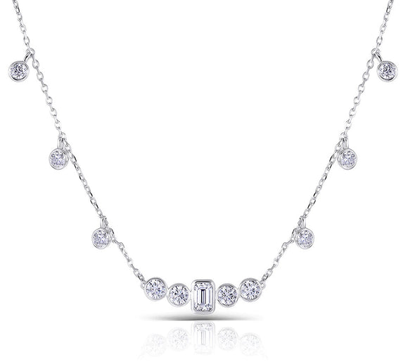 4.50ct Emerald & Round Cut Moissanite Necklace, Elegant Rubover Setting, 10Kt White Gold
