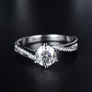 1.00ct Moissanite Engagement Ring, Shoulder Set Twist Design, Sterling Silver & Platinum