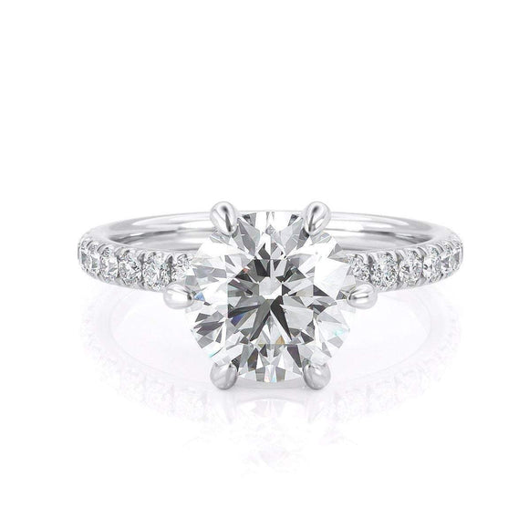 2.00ct Round Cut Moissanite Engagement Ring, Available in White Gold or Platinum