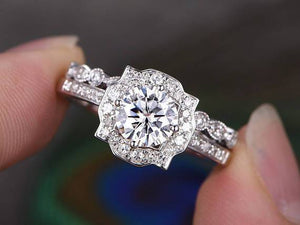 1.00ct Round Brilliant Cut Moissanite Engagement Ring Set, Available in Rose, White, Yellow Gold or Platinum, 1.50ct Total