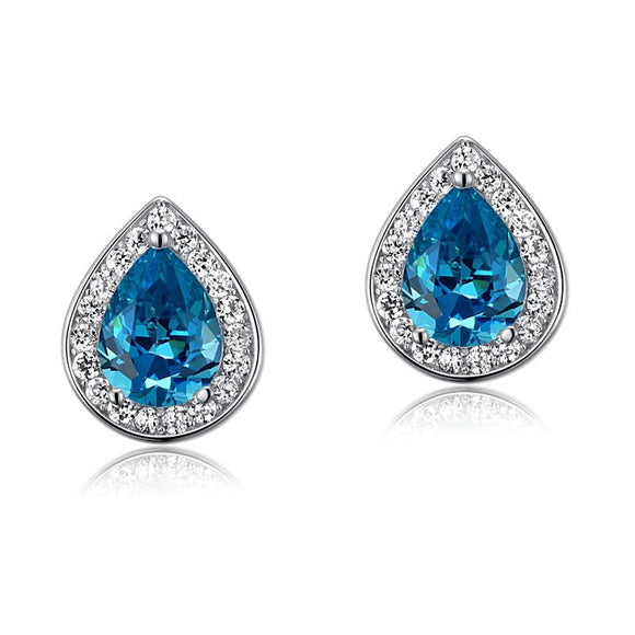 1.00ct each, Blue Diamond, Pear Cut Diamond Halo Stud Earrings, 925 Sterling Silver