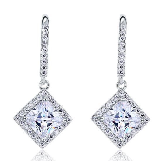 1.50ct each, Vintage Art Deco, Princess Cut Diamond Earrings, 925 Sterling Silver