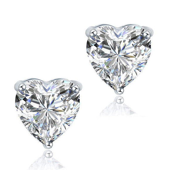 2.00ct each, Classic Heart Cut Diamond Stud Earrings, 925 Sterling Silver
