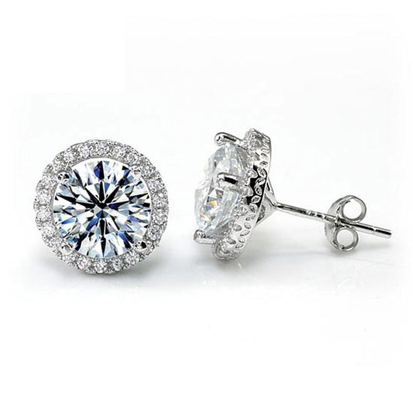 4.00ct Classic Diamond Halo Stud Earrings, Round cut, 925 Sterling Silver