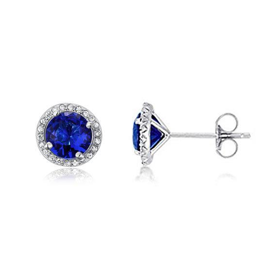 1.00ct each, Blue Sapphire, Classic Round Cut Diamond Halo Stud Earrings, 925 Sterling Silver