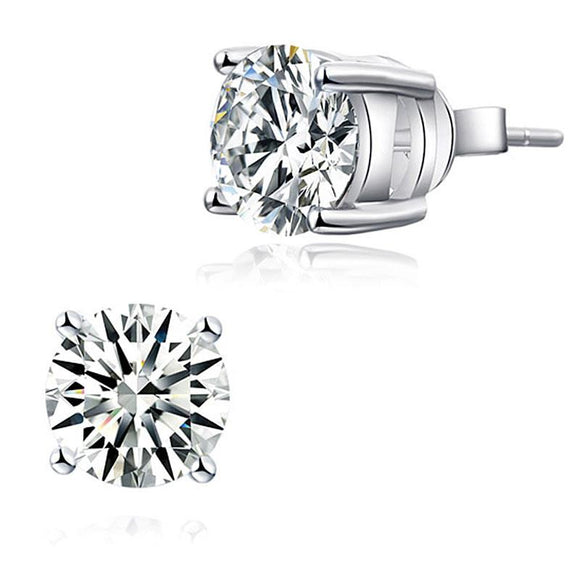 1.00ct each, Classic Round Cut Diamond Stud Earrings, 925 Sterling Silver
