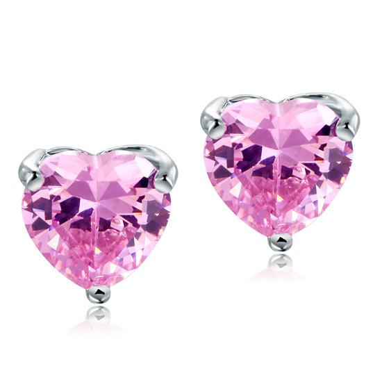 2.00ct each, Pink Diamond, Classic Heart Cut Diamond Stud Earrings, 925 Sterling Silver