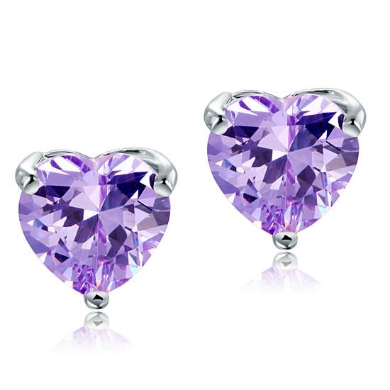 2.00ct each, Purple Amethyst, Classic Heart Cut Diamond Stud Earrings, 925 Sterling Silver