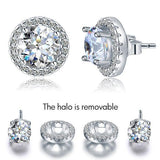 2.50ct Classic Diamond Halo Stud Earrings, Round cut, 925 Sterling Silver