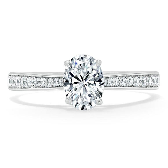 1.00ct  Oval Cut Moissanite Engagement Ring, Classic Style,  Available in White Gold, Platinum, Rose Gold or Yellow Gold