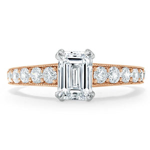 Lab-Diamond Emerald Cut Engagement Ring, Tiffany Style, Choose Your Stone Size and Metal
