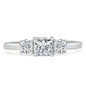 1.25ct  Princess Cut Moissanite 3 stone Engagement Ring,  Available in White Gold, Platinum, Rose Gold or Yellow Gold