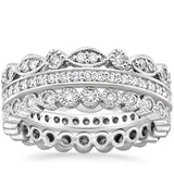 1.50ct Moissanite Wedding Band Set, Full Eternity Rings x3,  Available in White Gold, Yellow Gold, Rose Gold or Platinum