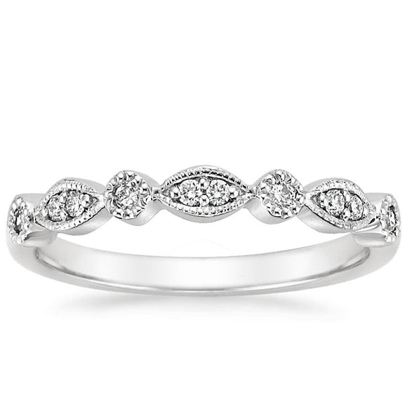 0.18ct Vintage Moissanite Wedding Band, Delicate Half Eternity Ring, Available in White Gold, Yellow Gold, Rose Gold  or Platinum