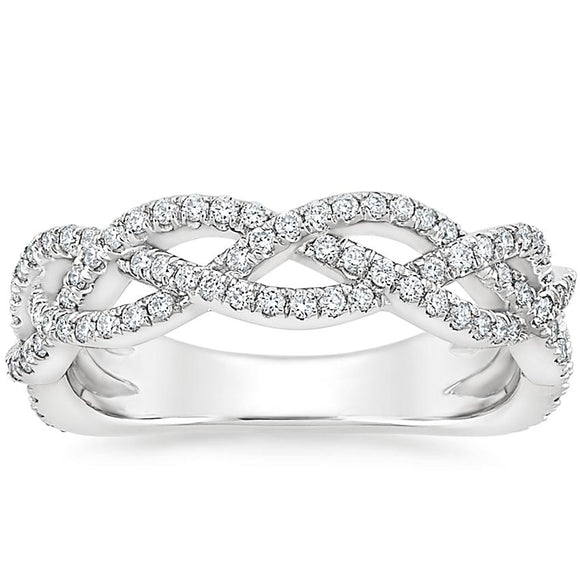 0.65ct Moissanite Wedding Band, Half Eternity Ring,  Available in White Gold, Yellow Gold, Rose Gold or Platinum