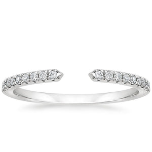 0.15ct Moissanite Wedding Band, Delicate Half Eternity Ring, Available in White Gold, Yellow Gold, Rose Gold  or Platinum