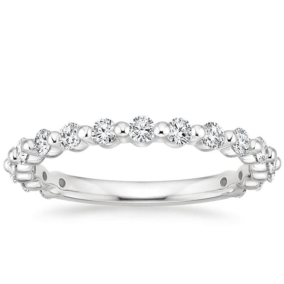 0.45ct Moissanite Wedding Band, Delicate Half Eternity Ring, Available in White Gold, Yellow Gold, Rose Gold  or Platinum