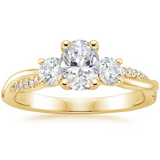 1.80ct Oval Cut Moissanite 3 StoneEngagement Ring,  Available in White Gold, Platinum, Rose Gold or Yellow Gold